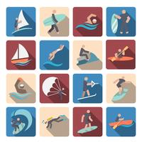 Set di icone di sport acquatici colorati vettore