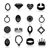 Icona di gioielli set nero vettore