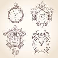 Vecchio set di orologio vintage vettore