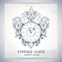 Vecchia cartolina di orologio da parete vintage vettore