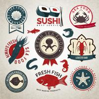 Set di etichette di frutti di mare