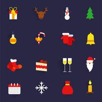 Icone di Natale impostate piatte vettore