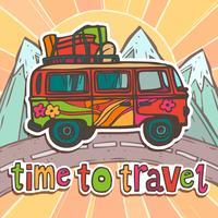 Viaggiare poster con autobus