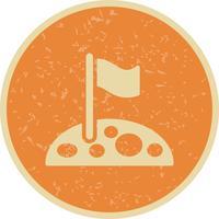 bandiera sulla luna icona vettoriale