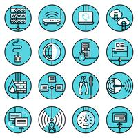 Le icone della rete hanno fissato la linea blu vettore