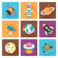 Set di icone piatte dello spazio vettore