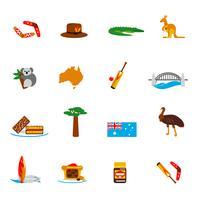 Icone dell'Australia impostate piatte vettore