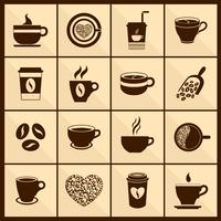 Icone della tazza di caffè nere vettore
