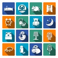 Icone del tempo di sonno piatte vettore