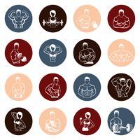 Icone di bodybuilding rotonde vettore