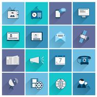 Set piatto di icone di media vettore