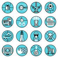 Le icone del pirata informatico hanno fissato la linea blu vettore