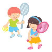 Bambini che giocano a tennis vettore