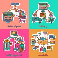 Set di illustrazione dello shopping online