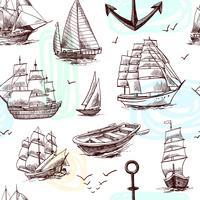 Le navi e le barche schizzano il modello senza cuciture vettore
