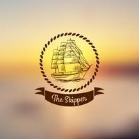 Emblema della nave su sfondo chiaro vettore