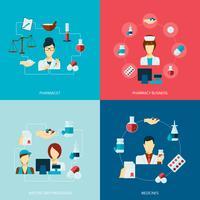 Set piatto icona di farmacista