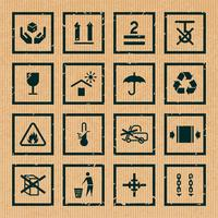 Maneggiare e simboli di imballaggio