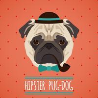 Ritratto di cane hipster vettore