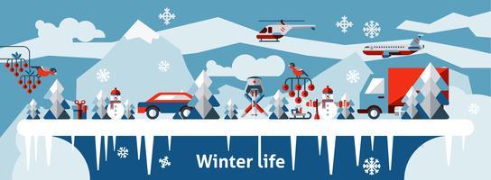 Sfondo di vita invernale vettore