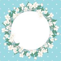Modello rotondo fiore di ciliegio su sfondo blu a pois vettore