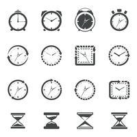 Orologio icona set nero vettore