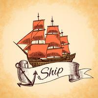 Emblema di nave alta vettore