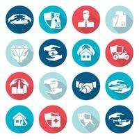 Icone di assicurazione piatte