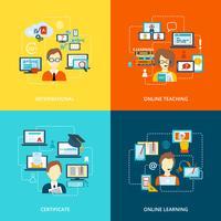 Icona di e-learning piatta vettore