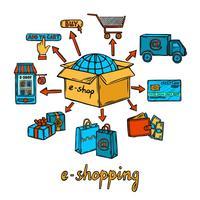 Concetto di design e-commerce vettore
