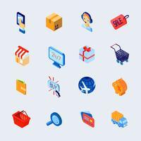Le icone commerciali di commercio elettronico hanno impostato isometrico