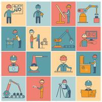 Linea piatta icone di ingegneria