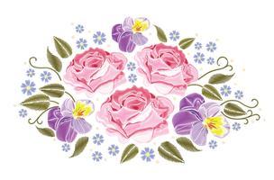 Fiorisce le rose e le viole del pensiero isolate su fondo bianco. Illustrazione vettoriale Elemento da ricamo per patch, badge, adesivi, biglietti di auguri, motivi, t-shirt.