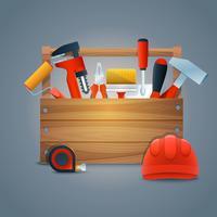 Ripari la cassetta degli attrezzi della costruzione vettore