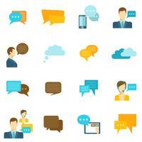 Icone di chat piatte vettore