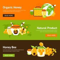 Set di banner piatto di miele vettore