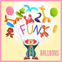 Clown con palloncini vettore