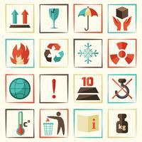 Set di simboli di imballaggio vettore