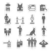 Set di icone di guardia di frontiera vettore