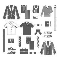Icone dei vestiti dell'uomo di affari messe vettore
