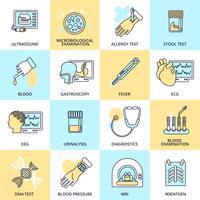 Linea piatta icone di test medici