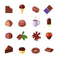 Icone di cioccolato piatte