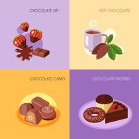 Icone di cioccolato piatte vettore
