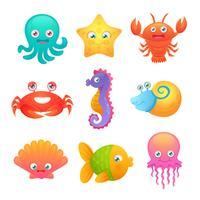 Simpatici animali marini vettore