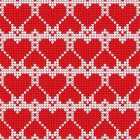 Modello senza cuciture lavorato a maglia cuore d'amore di San Valentino. Textures nei colori rosso e bianco. Illustrazione vettoriale