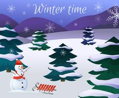 Poster di paesaggi invernali vettore