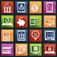 Icone di attività bancarie mobili bianche