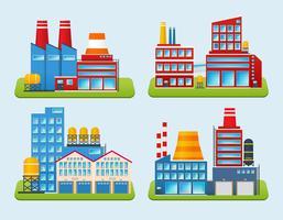 Set di edifici industriali vettore