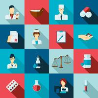 Set piatto icona di farmacista vettore