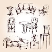 Set di schizzo di mobili